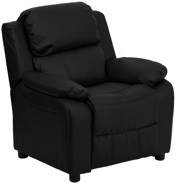 Flash Furniture Deluxe Heavily Padded Contemporary Leather Kid's Recliner with Storage Arms