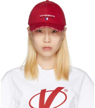 Vetements Red Haute Couture Logo Baseball Cap
