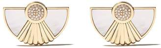 Mother of Pearl Fairfax & Roberts 18kt yellow gold large Cleopatra diamond and mother-of-pearl earrings
