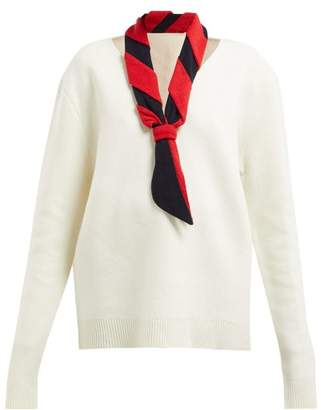 J.W.Anderson Scarf Trimmed V Neck Sweater - Womens - White