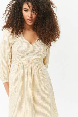 Forever 21 Floral Embroidered Striped Peasant Dress