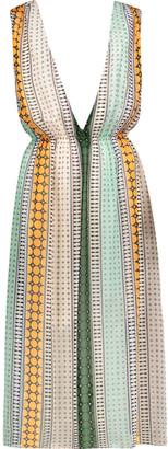 Sandro Rone layered printed chiffon midi dress $325 thestylecure.com