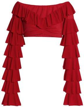 Norma Kamali Cropped Ruffled Stretch-Knit Top