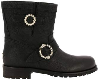Jimmy Choo Flat Booties Youth Biker Style Ankle Boots In Satin Leather With Maxi Jewel Buckles