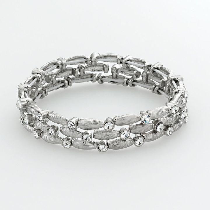 Trifari silver tone simulated crystal stretch bracelet