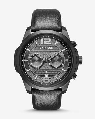 Express Pebbled Leather Multi-Function Watch