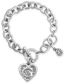 GUESS Silver Logo Heart Charm Toggle Bracelet