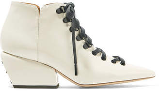 Petar Petrov Sacha Patent-leather Ankle Boots - Off-white