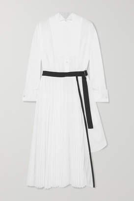 Sacai Belted Pleated Poplin And Piqué Midi Dress - White