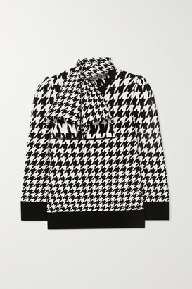 Alexander McQueen Bow-detailed Houndstooth Wool-blend Sweater - Ivory
