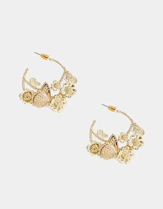 Asos DESIGN hoop earrings in pretty butterfly design in gold