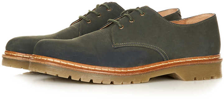 Topman Green Waxed Derby Shoes