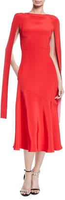 Calvin Klein Cape-Sleeve High-Neck Slim Silk-Cady Midi Dress