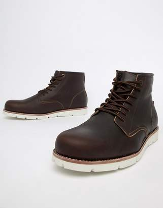Levi's Levis jax high leather boot in dark brown