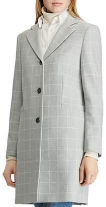 Ralph Lauren Gingham Crepe Reefer Coat