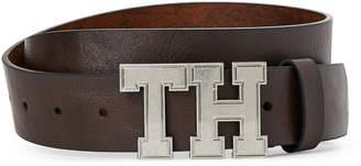 Tommy Hilfiger Brown Logo Plaque Belt