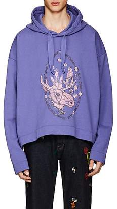 Acne Studios Men's Orinak Front Moose Embroidered Cotton Hoodie