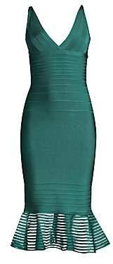 Herve Leger Women's Illusion Mesh Flutter Hem Midi Dress