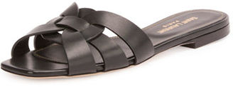 Saint Laurent Woven Leather Sandal Slide $595 thestylecure.com