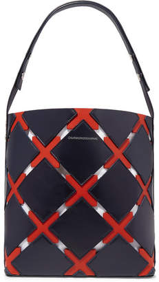 Calvin Klein Cassidy Quilt Cutout Leather Tote - Navy