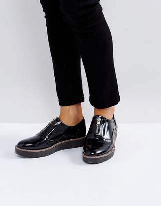 London Rebel Zip Front Flatform Shoe