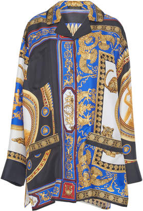Versace Silk Twill Oversized Shirt