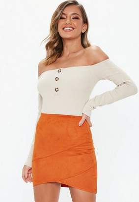Missguided Orange Faux Suede Wrap Mini Skirt