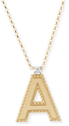 Roberto Coin Princess 18K Yellow Gold Diamond Initial Necklace, A
