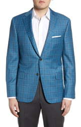 Hickey Freeman Classic Fit Plaid Wool Sport Coat
