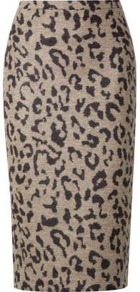 Max Mara Leopard-print Wool Midi Skirt - Beige
