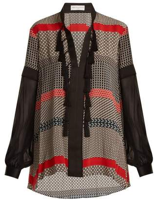 Amanda Wakeley Geometric Print Silk Crepe De Chine Blouse - Womens - Red Multi
