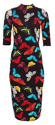 Alice + Olivia Women's Delora Fitted Butterfly-Print Dress - Size 0