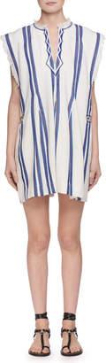 Etoile Isabel Marant Denize V-Neck Striped Cotton Poncho Dress