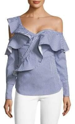 One-Shoulder Pinstripe Ruffle Shirt