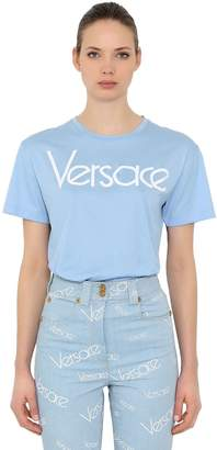 Versace Logo Embroidered Cotton Jersey T-Shirt