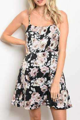Honey Punch Black Floral Dress