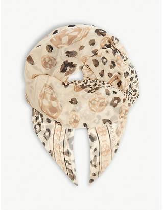 Alexander McQueen Leopard skull silk scarf