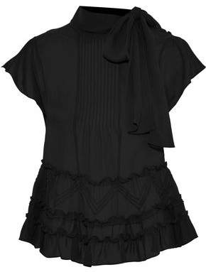 RED Valentino Pleated Ruffle-Trimmed Silk-Chiffon Blouse
