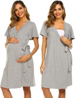 dfacef962cc Ekouaer Maternity Robe, Labor Delivery Hospital Gown Nursing Nightgowns  Bathrobe
