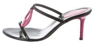 Sergio Rossi Leather Slide Sandals