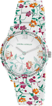 Laura Ashley Ainsley Ditsy Pattern Printed Watch With Round Silver-Tone Dial And Crystals Around Bezel La31018J $395 thestylecure.com