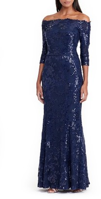 Women's Lauren Ralph Lauren Mesh Mermaid Gown $350 thestylecure.com