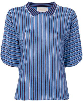 Chiara Bertani striped knitted polo shirt