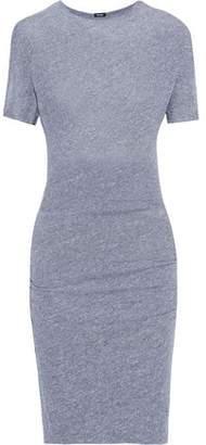 Monrow Ruched Slub Stretch-jersey Mini Dress