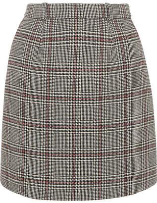 Carven Checked Wool-blend Mini Skirt - Gray