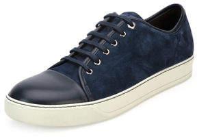 Lanvin Men's Suede Cap-Toe Low-Top Sneaker