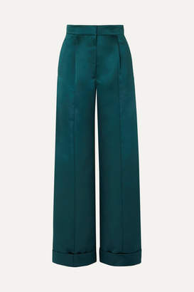 Les Héroïnes The Julia Duchesse-satin Wide-leg Pants - Teal