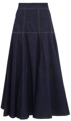 MSGM Top Stitched Denim Midi Skirt - Womens - Dark Denim