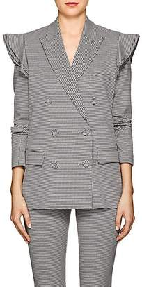 Opening Ceremony Women's Houndstooth Cotton-Blend Ruffled Blazer - Navy