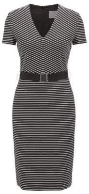 BOSS Hugo V-neck striped dress in a cotton 14 Patterned
